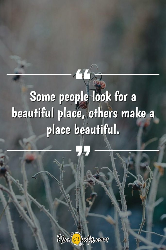 Some people look for a beautiful place